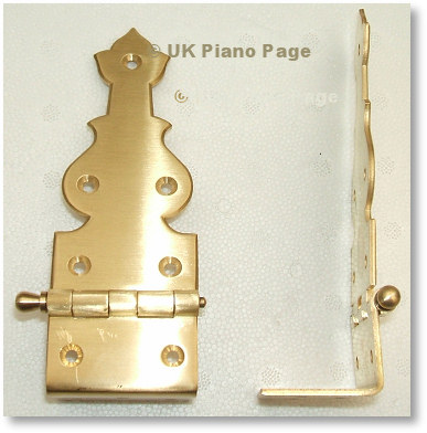 Grand Piano Lid Hinge In Polished Brass With Removable